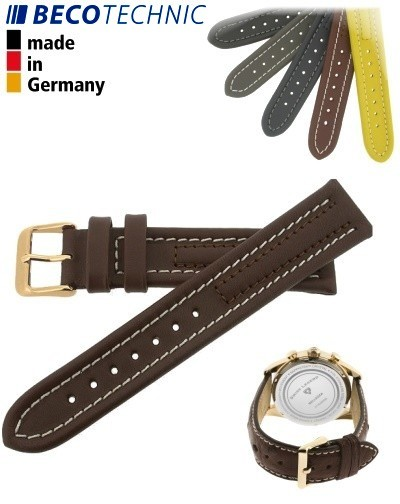 Beco Technic Watch Strap 22mm brown / gold