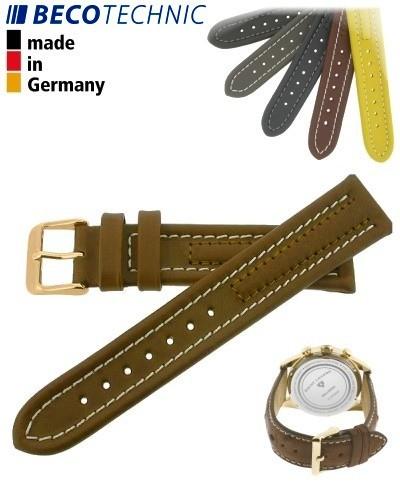 Beco Technic Watch Strap 22mm cognac / gold
