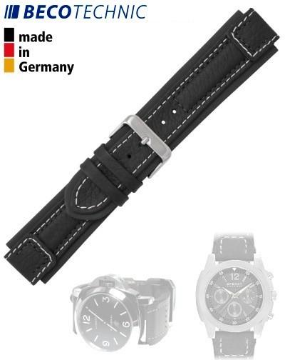 Beco Technic watch strap Terrasco calf 22 mm black