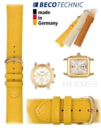 Beco Technic watch strap HERMES yellow 16mm golden