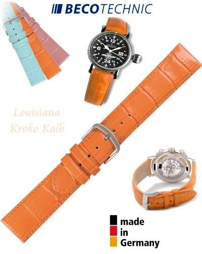 Watch strap LUISIANA croco calf orange 16mm