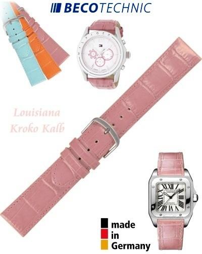 Watch strap LUISIANA croco calf pink 16mm