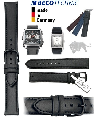 Leather watch strap 22mm NAPPA ALL BLACK