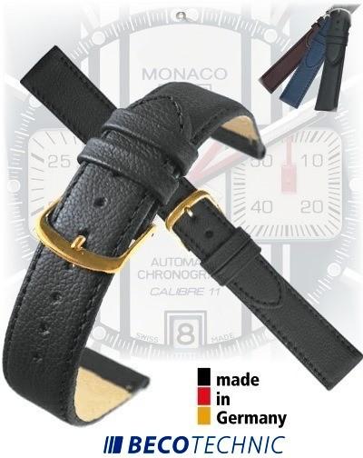 Leather watch strap 22mm NAPPA BLACK gold