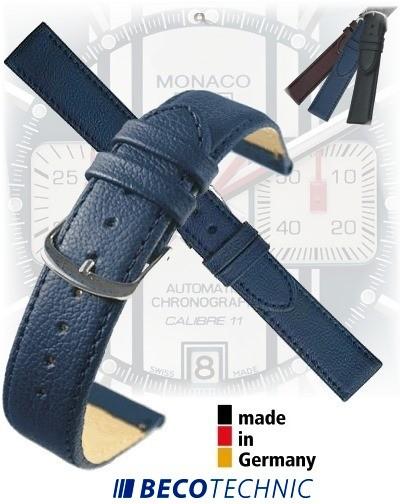 Leather watch strap NAPPA midnight blue 22mm steel
