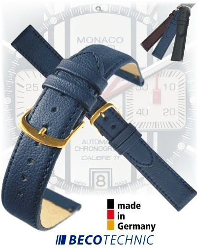 Leather watch strap NAPPA midnight blue gold 16mm