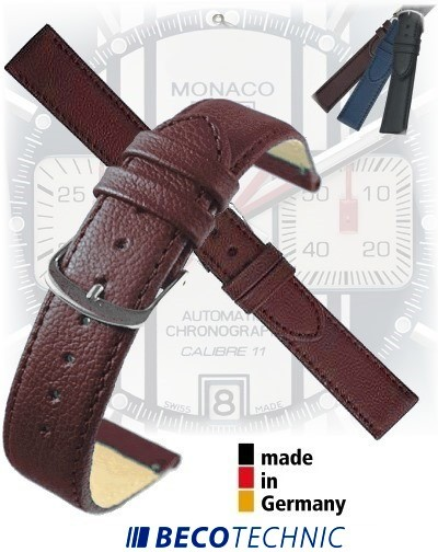 Leather watch strap NAPPA natural brown 16mm steel