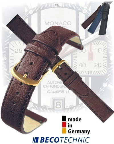 Leather watch strap NAPPA natural brown 22mm gold