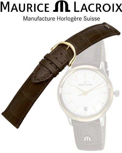 Maurice Lacroix watchstrap LOUISIANA brown / gold 16