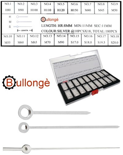 180 assorted watch hands, Baton-Style, silver color