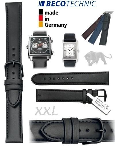 Leather watch strap 16mm NAPPA ALL BLACK XXL